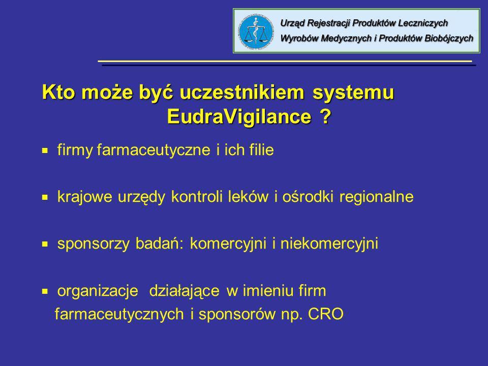 Kto może być uczestnikiem systemu EudraVigilance ? firmy farmaceutyczne i ich filie krajowe urzędy kontroli leków i ośrodki regionalne sponsorzy badań