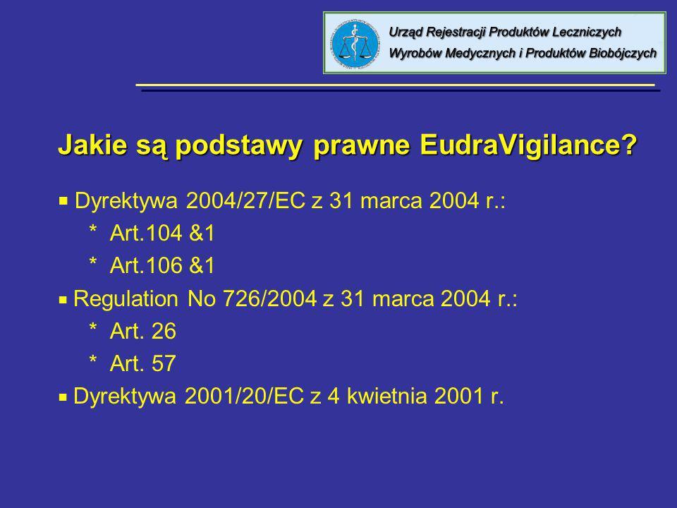 Jakie są podstawy prawne EudraVigilance? Dyrektywa 2004/27/EC z 31 marca 2004 r.: * Art.104 &1 * Art.106 &1 Regulation No 726/2004 z 31 marca 2004 r.: