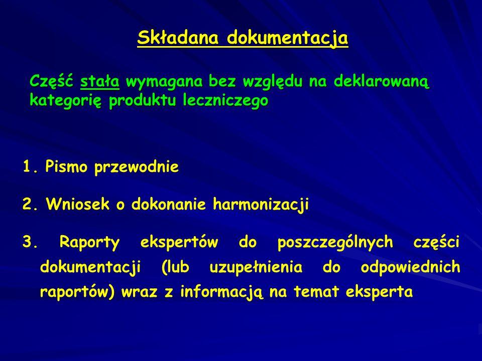 Składana dokumentacja Część stała wymagana bez względu na deklarowaną kategorię produktu leczniczego. 1. Pismo przewodnie 2. Wniosek o dokonanie harmo