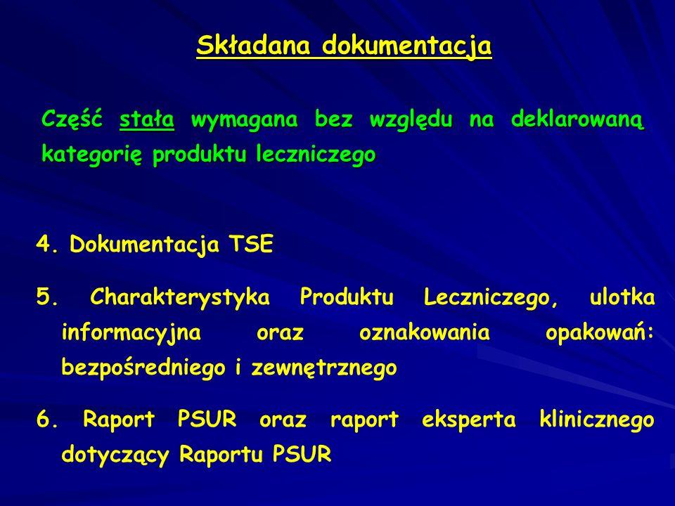 Składana dokumentacja Część szczegółowa zależna od kategorii produktu leczniczego: Produkty lecznicze oryginalne oraz zgłoszone na podstawie umów w oparciu o dokumentację produktów oryginalnych: pełna dokumentacja, wraz ze wszystkimi zatwierdzonymi zmianami, zgodna z dokumentacją obowiązującą w kraju Podmiotu odpowiedzialnego (lub innego kraju dawnej EU) pełna dokumentacja, wraz ze wszystkimi zatwierdzonymi zmianami, zgodna z dokumentacją obowiązującą w kraju Podmiotu odpowiedzialnego (lub innego kraju dawnej EU) charakterystyka produktu leczniczego oryginalnego charakterystyka produktu leczniczego oryginalnego