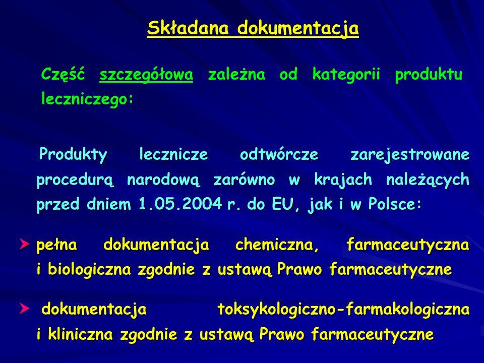 Składana dokumentacja Część szczegółowa zależna od kategorii produktu leczniczego: Produkty lecznicze, których substancja czynna ma ugruntowane zastosowanie medyczne oraz potwierdzoną skuteczność i bezpieczeństwo: pełna dokumentacja chemiczna, farmaceutyczna i biologiczna zgodnie z ustawą Prawo farmaceutyczne dokumentacja toksykologiczno-farmakologiczna i kliniczna zgodnie z ustawą Prawo farmaceutyczne opracowana na podstawie publikacji w literaturze fachowej i/lub uzupełniona o badania własne dokumentacja toksykologiczno-farmakologiczna i kliniczna zgodnie z ustawą Prawo farmaceutyczne opracowana na podstawie publikacji w literaturze fachowej i/lub uzupełniona o badania własne