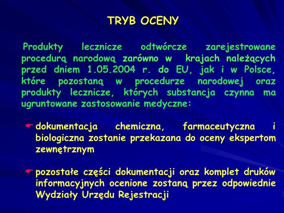 Produkty lecznicze odtwórcze zarejestrowane procedurą narodową zarówno w krajach należących przed dniem 1.05.2004 r. do EU, jak i w Polsce, które pozo