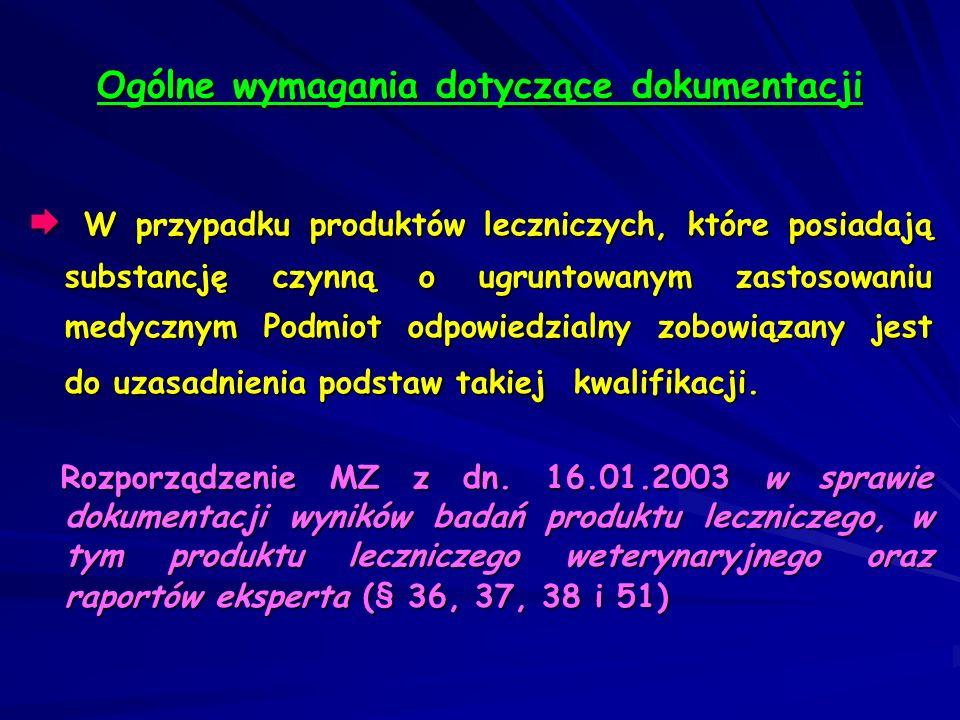 Dopuszcza się składanie wspólnego raportu eksperta dla dokumentacji toksykologiczno-farmakologicznej i klinicznej (NTA) Dopuszcza się składanie wspólnego raportu eksperta dla dokumentacji toksykologiczno-farmakologicznej i klinicznej (NTA) Dotyczy to sytuacji, gdy raport taki został już opracowany i nadal jest aktualny (od czasu jego sporządzenia nie nastąpiły żadne istotne zmiany w dokumentacji) Ogólne wymagania dotyczące dokumentacji