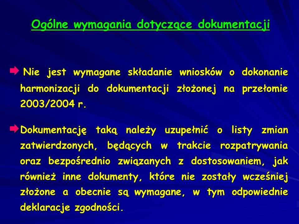 Nie jest wymagane składanie wniosków o dokonanie harmonizacji do dokumentacji złożonej na przełomie 2003/2004 r. Dokumentację taką należy uzupełnić o