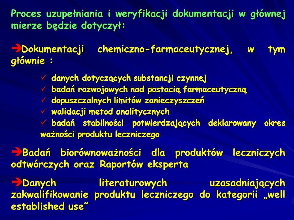 Proces uzupełniania i weryfikacji dokumentacji w głównej mierze będzie dotyczył: Dokumentacji chemiczno-farmaceutycznej, w tym głównie : Dokumentacji
