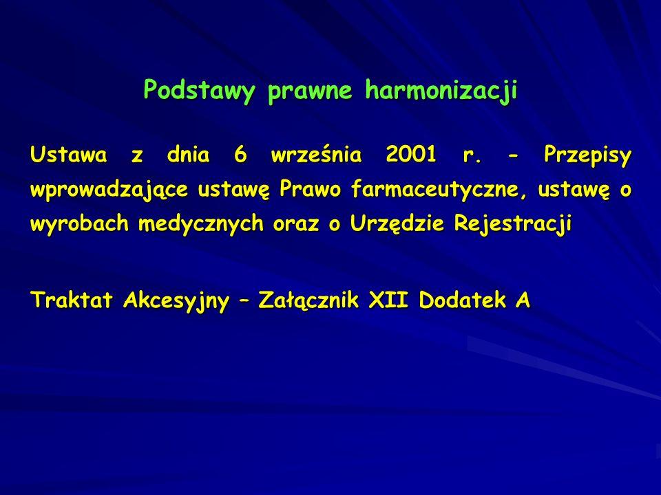 Podstawy prawne harmonizacji Ustawa z dnia 6 września 2001 r. - Przepisy wprowadzające ustawę Prawo farmaceutyczne, ustawę o wyrobach medycznych oraz