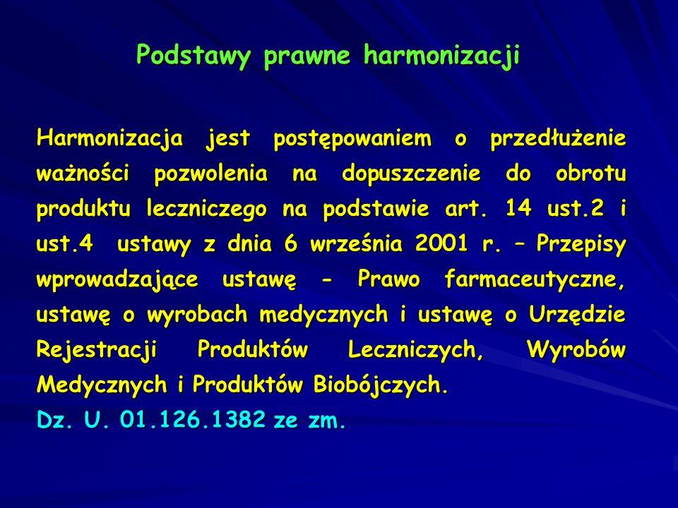 Podstawy prawne harmonizacji Harmonizacja jest postępowaniem o przedłużenie ważności pozwolenia na dopuszczenie do obrotu produktu leczniczego na pods