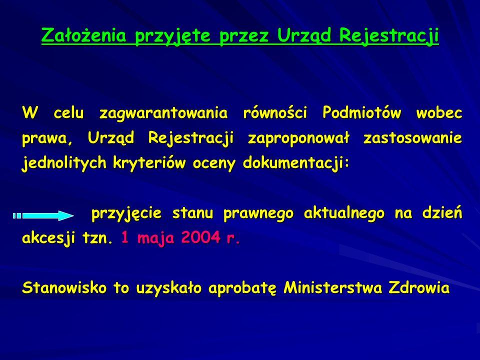 Założenia przyjęte przez Urząd Rejestracji W celu zagwarantowania równości Podmiotów wobec prawa, Urząd Rejestracji zaproponował zastosowanie jednolit