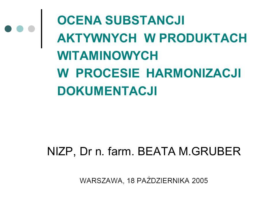 OCENA SUBSTANCJI AKTYWNYCH W PRODUKTACH WITAMINOWYCH W PROCESIE HARMONIZACJI DOKUMENTACJI NIZP, Dr n. farm. BEATA M.GRUBER WARSZAWA, 18 PAŹDZIERNIKA 2