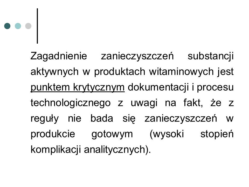 Zagadnienie zanieczyszczeń substancji aktywnych w produktach witaminowych jest punktem krytycznym dokumentacji i procesu technologicznego z uwagi na f