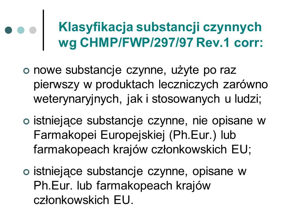 Klasyfikacja substancji czynnych wg CHMP/FWP/297/97 Rev.1 corr: nowe substancje czynne, użyte po raz pierwszy w produktach leczniczych zarówno weteryn