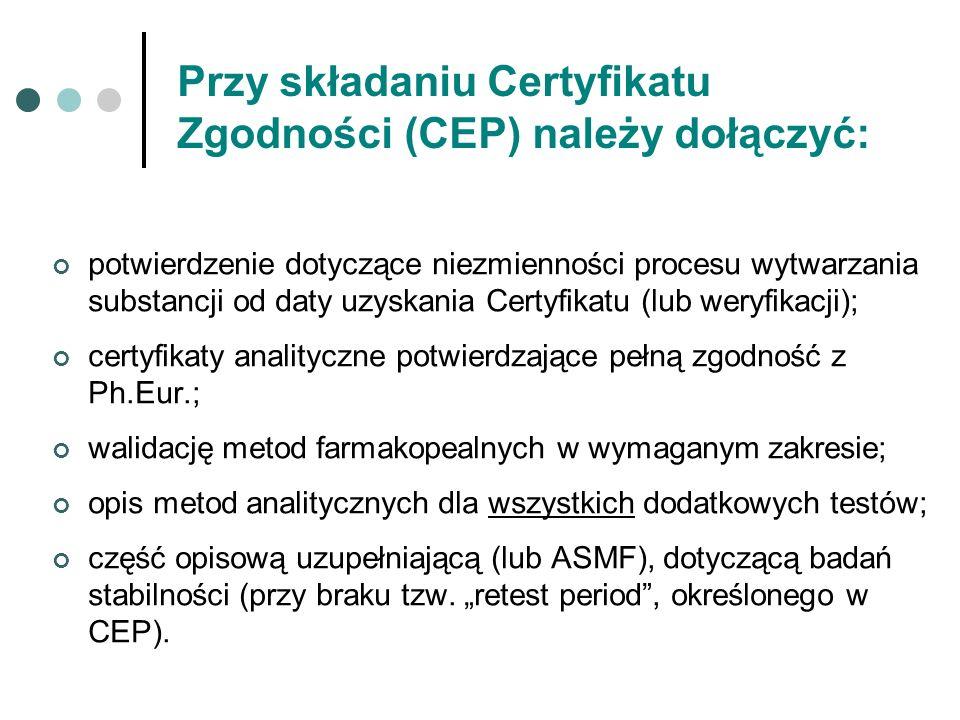 Przy składaniu Certyfikatu Zgodności (CEP) należy dołączyć: potwierdzenie dotyczące niezmienności procesu wytwarzania substancji od daty uzyskania Cer