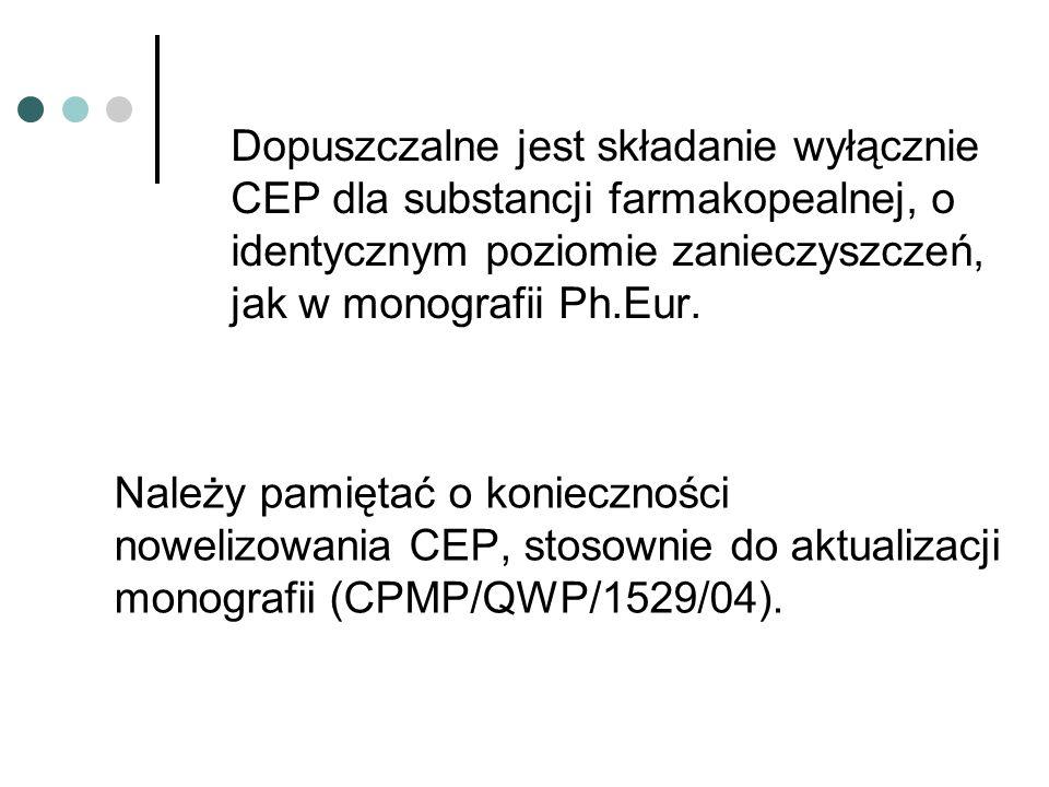 Dopuszczalne jest składanie wyłącznie CEP dla substancji farmakopealnej, o identycznym poziomie zanieczyszczeń, jak w monografii Ph.Eur. Należy pamięt