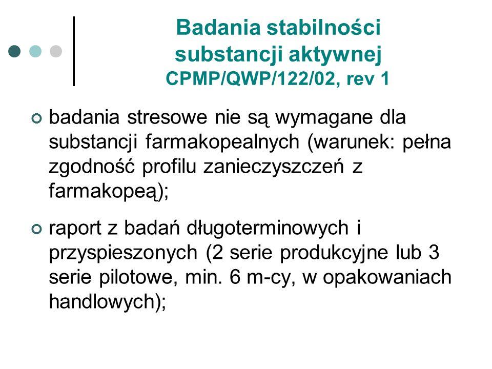 Badania stabilności substancji aktywnej CPMP/QWP/122/02, rev 1 badania stresowe nie są wymagane dla substancji farmakopealnych (warunek: pełna zgodnoś