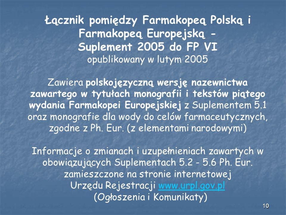 10 Łącznik pomiędzy Farmakopeą Polską i Farmakopeą Europejską - Suplement 2005 do FP VI opublikowany w lutym 2005 Zawiera polskojęzyczną wersję nazewn