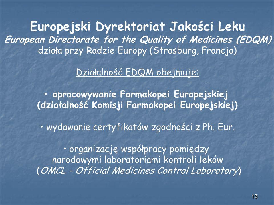 13 Europejski Dyrektoriat Jakości Leku European Directorate for the Quality of Medicines (EDQM) działa przy Radzie Europy (Strasburg, Francja) Działal