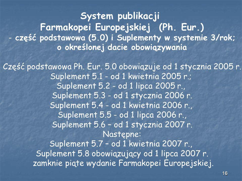 16 System publikacji Farmakopei Europejskiej (Ph. Eur.) - część podstawowa (5.0) i Suplementy w systemie 3/rok; o określonej dacie obowiązywania Część