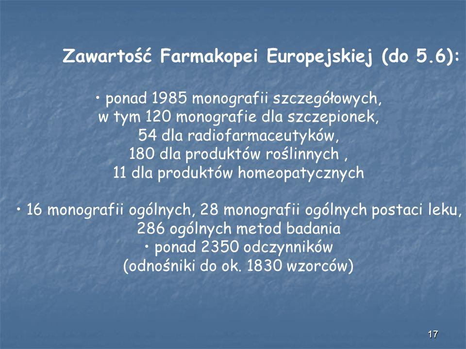 17 Zawartość Farmakopei Europejskiej (do 5.6): ponad 1985 monografii szczegółowych, w tym 120 monografie dla szczepionek, 54 dla radiofarmaceutyków, 1