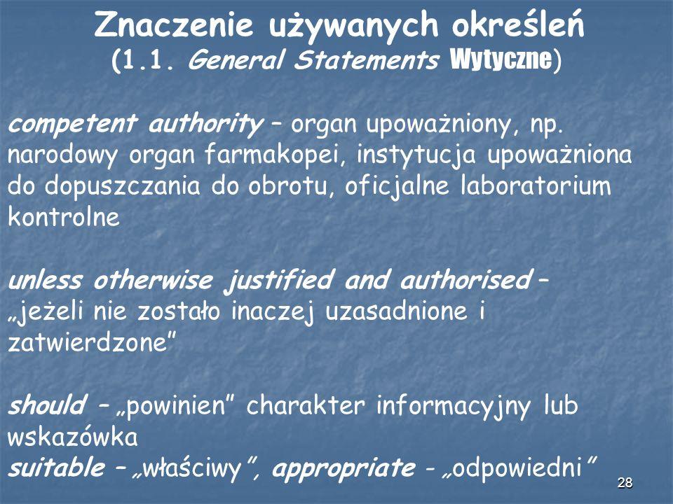 28 Znaczenie używanych określeń (1.1. General Statements Wytyczne ) competent authority – organ upoważniony, np. narodowy organ farmakopei, instytucja