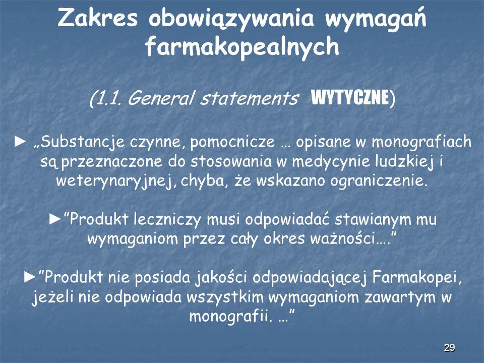 29 Zakres obowiązywania wymagań farmakopealnych (1.1. General statements WYTYCZNE ) Substancje czynne, pomocnicze … opisane w monografiach są przeznac