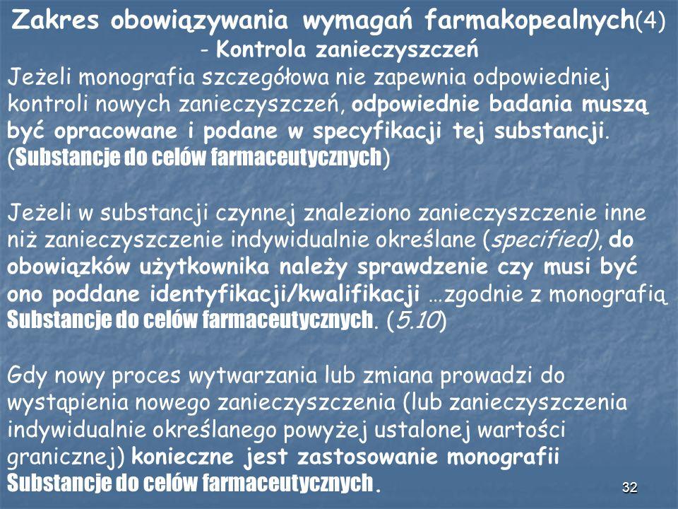 32 Zakres obowiązywania wymagań farmakopealnych (4) - Kontrola zanieczyszczeń Jeżeli monografia szczegółowa nie zapewnia odpowiedniej kontroli nowych