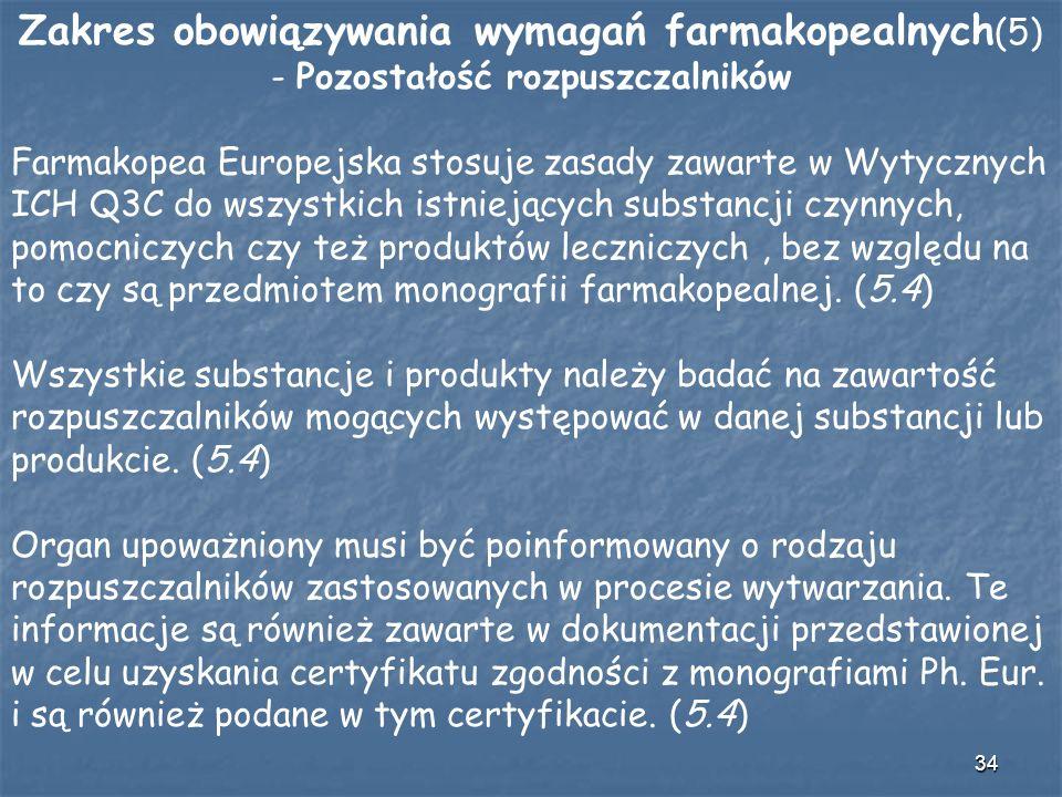 34 Zakres obowiązywania wymagań farmakopealnych (5) - Pozostałość rozpuszczalników Farmakopea Europejska stosuje zasady zawarte w Wytycznych ICH Q3C d