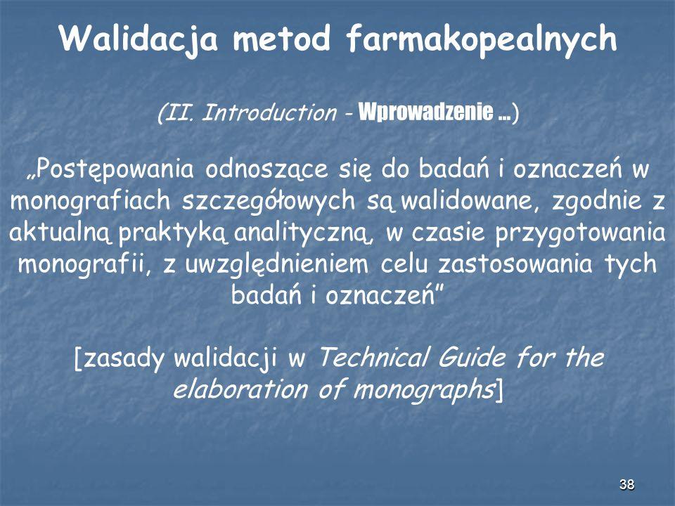38 Walidacja metod farmakopealnych (II. Introduction - Wprowadzenie … ) Postępowania odnoszące się do badań i oznaczeń w monografiach szczegółowych są