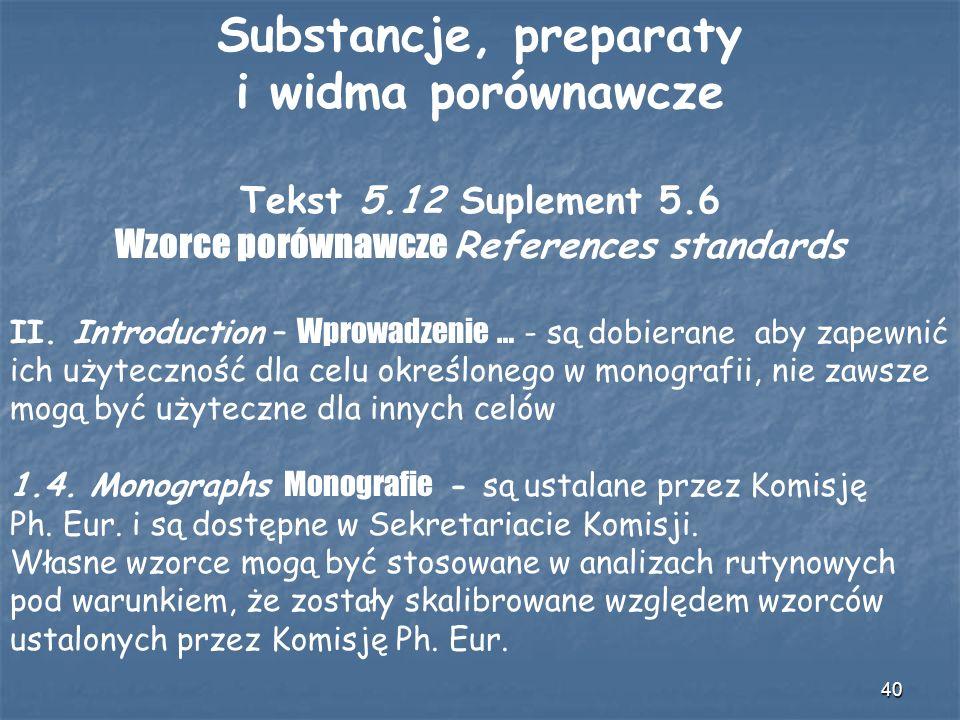 40 Substancje, preparaty i widma porównawcze Tekst 5.12 Suplement 5.6 Wzorce porównawcze References standards II. Introduction – Wprowadzenie … - są d