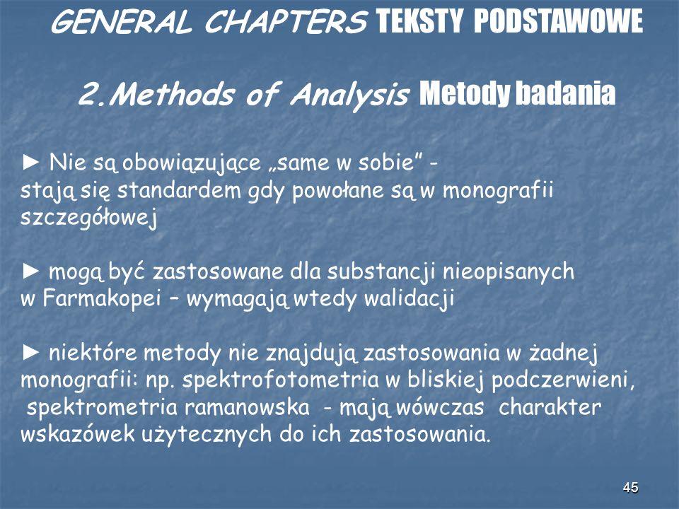 45 GENERAL CHAPTERS TEKSTY PODSTAWOWE 2.Methods of Analysis Metody badania Nie są obowiązujące same w sobie - stają się standardem gdy powołane są w m