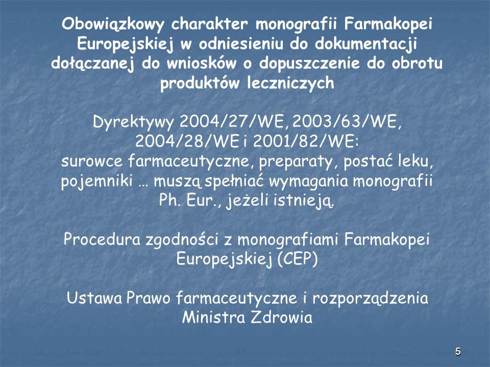 6 Konwencja o Opracowaniu Farmakopei Europejskiej Umawiające się strony zobowiązane są do podjęcia odpowiednich kroków, aby zapewnić że monografie Farmakopei Europejskiej staną się oficjalnymi standardami stosowanymi na ich terytorium.