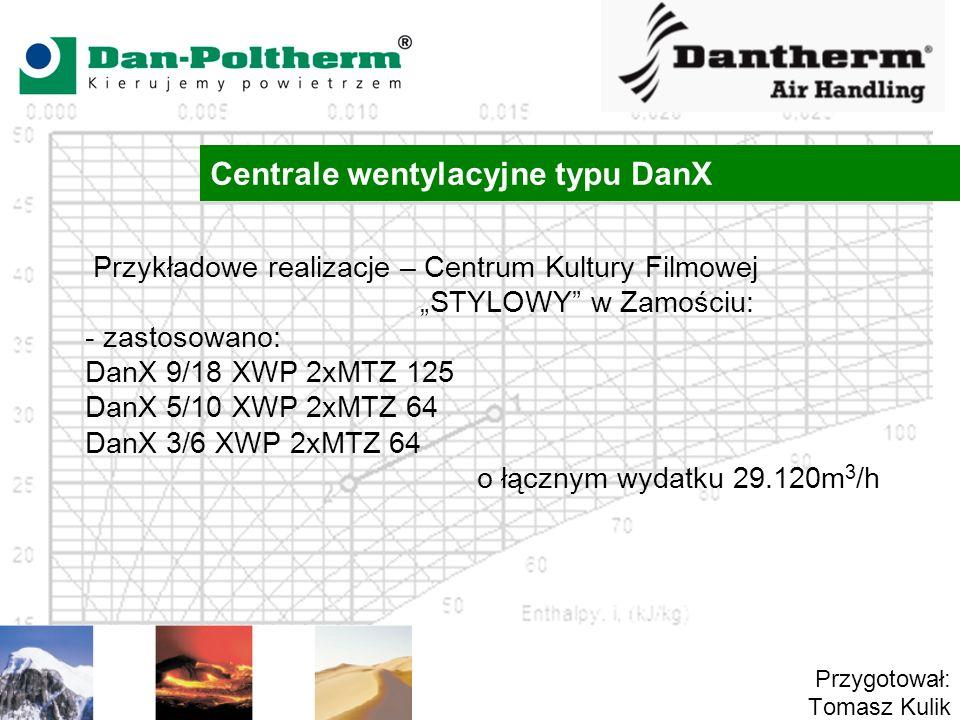 Centrale wentylacyjne typu DanX Przygotował: Tomasz Kulik Przykładowe realizacje – Centrum Kultury Filmowej STYLOWY w Zamościu: - zastosowano: DanX 9/18 XWP 2xMTZ 125 DanX 5/10 XWP 2xMTZ 64 DanX 3/6 XWP 2xMTZ 64 o łącznym wydatku 29.120m 3 /h