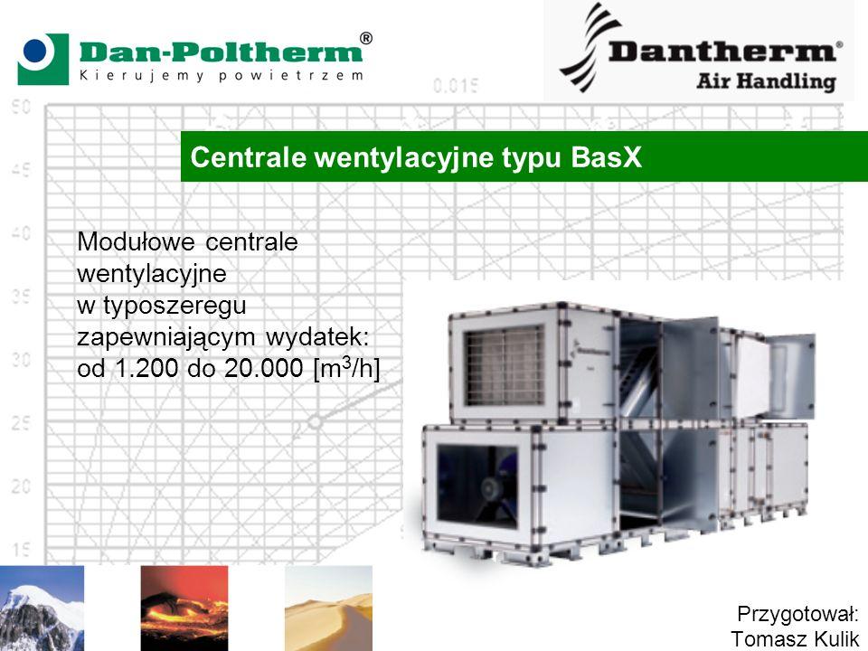 Centrale wentylacyjne typu BasX Przygotował: Tomasz Kulik Modułowe centrale wentylacyjne w typoszeregu zapewniającym wydatek: od 1.200 do 20.000 [m 3 /h]