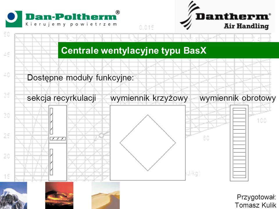 Centrale wentylacyjne typu BasX Przygotował: Tomasz Kulik Dostępne moduły funkcyjne: sekcja recyrkulacji wymiennik krzyżowy wymiennik obrotowy