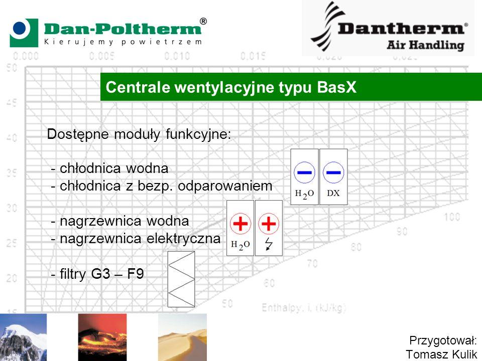 Centrale wentylacyjne typu BasX Przygotował: Tomasz Kulik Dostępne moduły funkcyjne: - chłodnica wodna - chłodnica z bezp.
