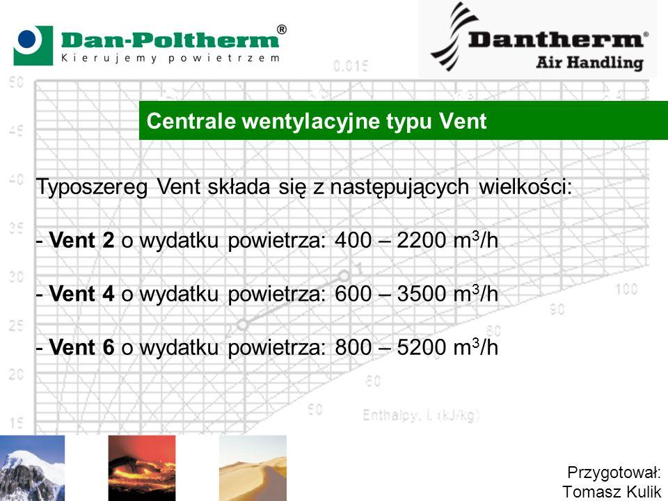 Centrale wentylacyjne typu Vent Przygotował: Tomasz Kulik Typoszereg Vent składa się z następujących wielkości: - Vent 2 o wydatku powietrza: 400 – 2200 m 3 /h - Vent 4 o wydatku powietrza: 600 – 3500 m 3 /h - Vent 6 o wydatku powietrza: 800 – 5200 m 3 /h