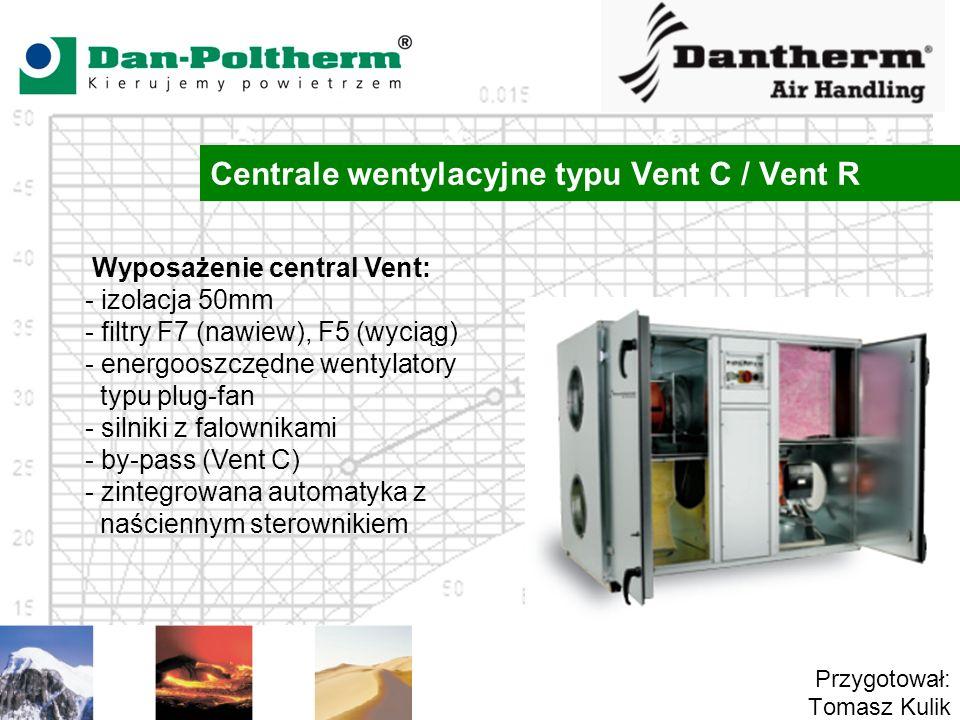 Centrale wentylacyjne typu Vent C / Vent R Przygotował: Tomasz Kulik Wyposażenie central Vent: - izolacja 50mm - filtry F7 (nawiew), F5 (wyciąg) - energooszczędne wentylatory typu plug-fan - silniki z falownikami - by-pass (Vent C) - zintegrowana automatyka z naściennym sterownikiem
