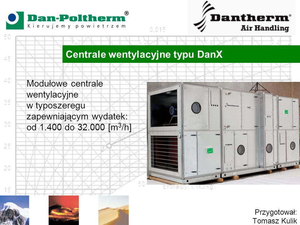 Centrale wentylacyjne typu DanX Przygotował: Tomasz Kulik Modułowe centrale wentylacyjne w typoszeregu zapewniającym wydatek: od 1.400 do 32.000 [m 3 /h]