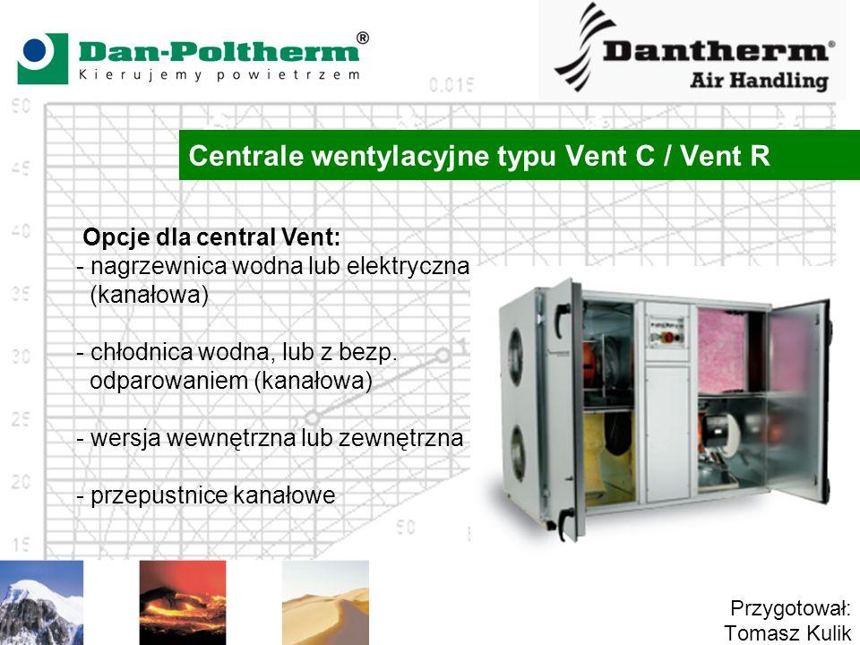 Centrale wentylacyjne typu Vent C / Vent R Przygotował: Tomasz Kulik Opcje dla central Vent: - nagrzewnica wodna lub elektryczna (kanałowa) - chłodnica wodna, lub z bezp.
