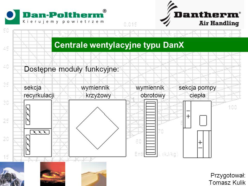 Centrale wentylacyjne typu DanX Przygotował: Tomasz Kulik Dostępne moduły funkcyjne: sekcja wymiennik wymiennik sekcja pompy recyrkulacji krzyżowy obrotowy ciepła