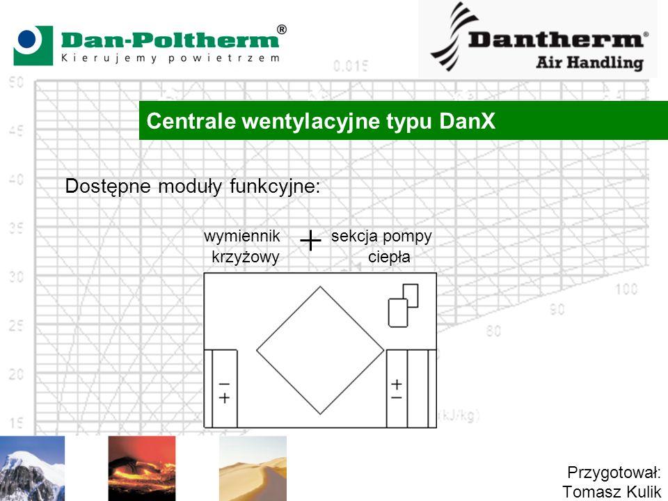 Centrale wentylacyjne typu DanX Przygotował: Tomasz Kulik Dostępne moduły funkcyjne: wymiennik sekcja pompy krzyżowy ciepła