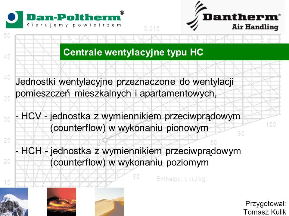 Centrale wentylacyjne typu HC Przygotował: Tomasz Kulik Jednostki wentylacyjne przeznaczone do wentylacji pomieszczeń mieszkalnych i apartamentowych,