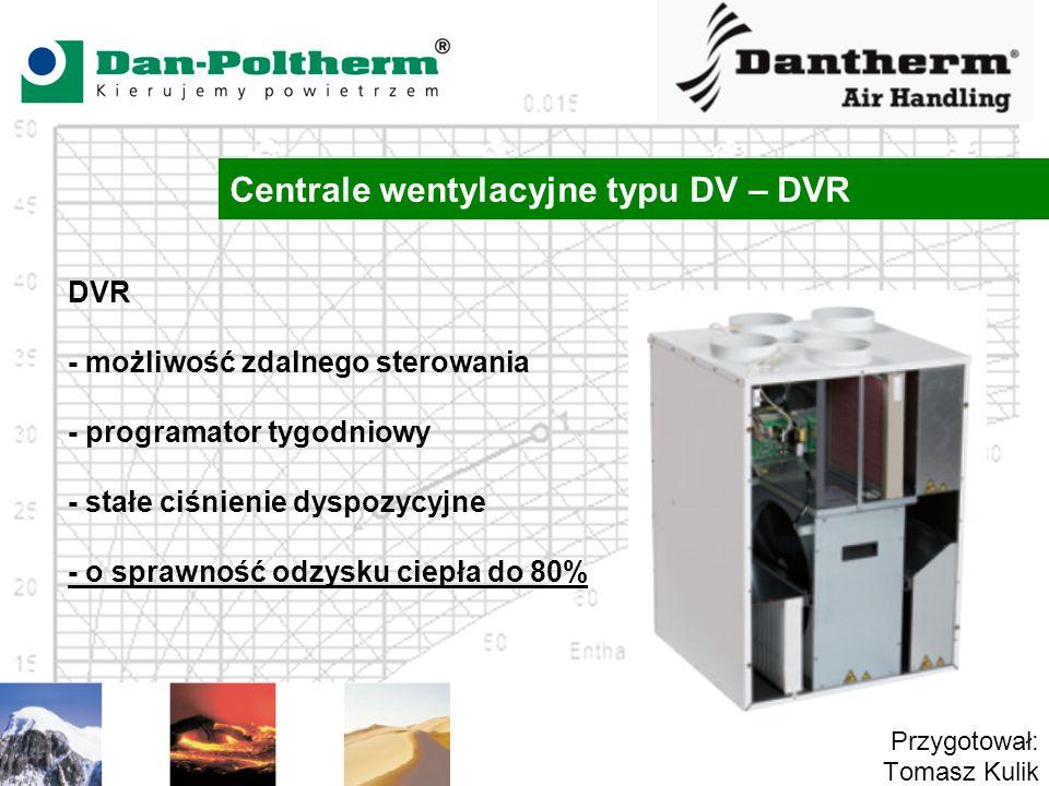Centrale wentylacyjne typu DV – DVR Przygotował: Tomasz Kulik DVR - możliwość zdalnego sterowania - programator tygodniowy - stałe ciśnienie dyspozycy