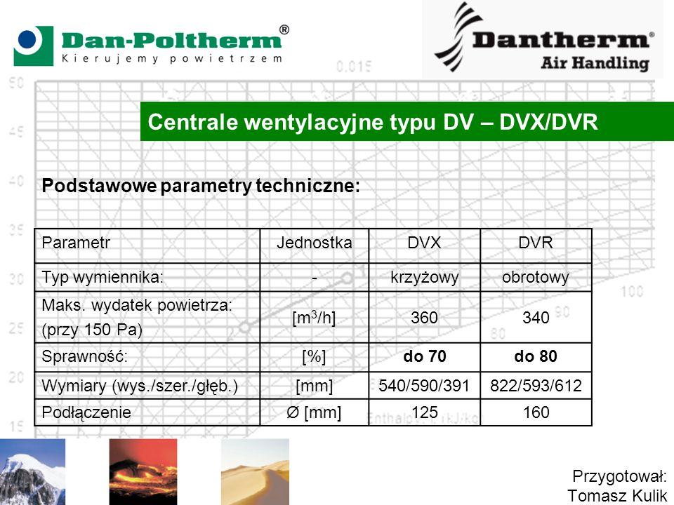Centrale wentylacyjne typu DV – DVX/DVR Przygotował: Tomasz Kulik Podstawowe parametry techniczne: ParametrJednostkaDVXDVR Typ wymiennika:-krzyżowyobr