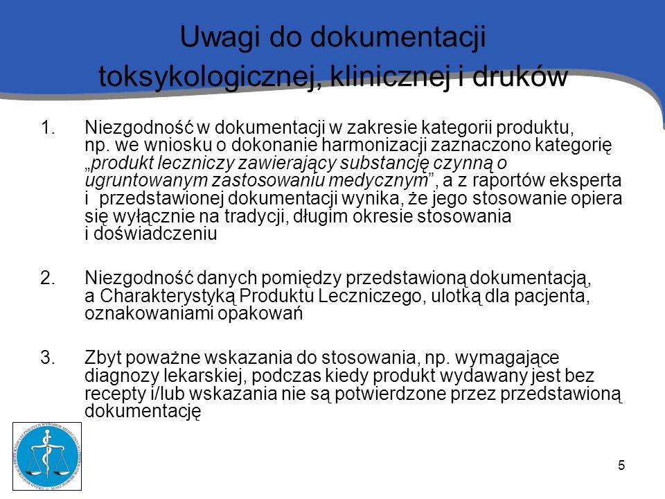 5 Uwagi do dokumentacji toksykologicznej, klinicznej i druków 1.Niezgodność w dokumentacji w zakresie kategorii produktu, np. we wniosku o dokonanie h