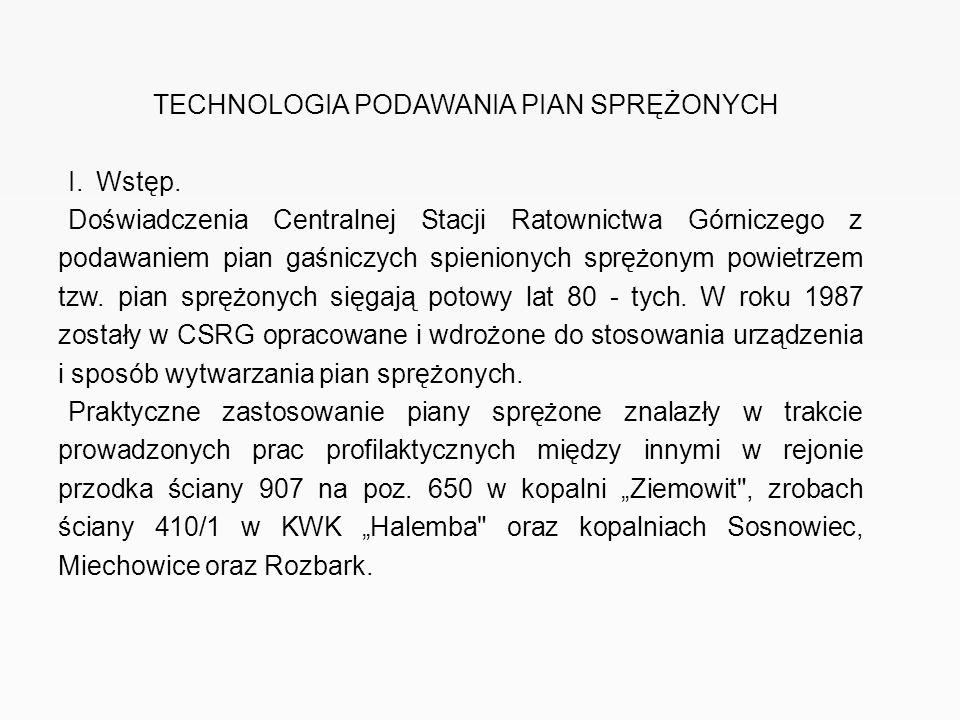 TECHNOLOGIA PODAWANIA PIAN SPRĘŻONYCH I. Wstęp. Doświadczenia Centralnej Stacji Ratownictwa Górniczego z podawaniem pian gaśniczych spienionych sprężo