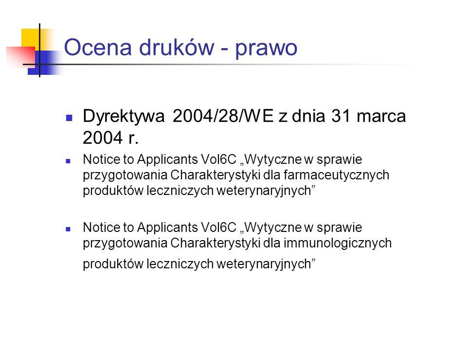 Ocena druków - prawo Dyrektywa 2004/28/WE z dnia 31 marca 2004 r.