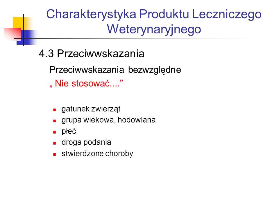 Charakterystyka Produktu Leczniczego Weterynaryjnego 4.3 Przeciwwskazania Przeciwwskazania bezwzględne Nie stosować....