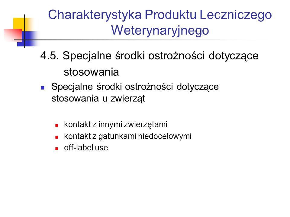 Charakterystyka Produktu Leczniczego Weterynaryjnego 4.5.