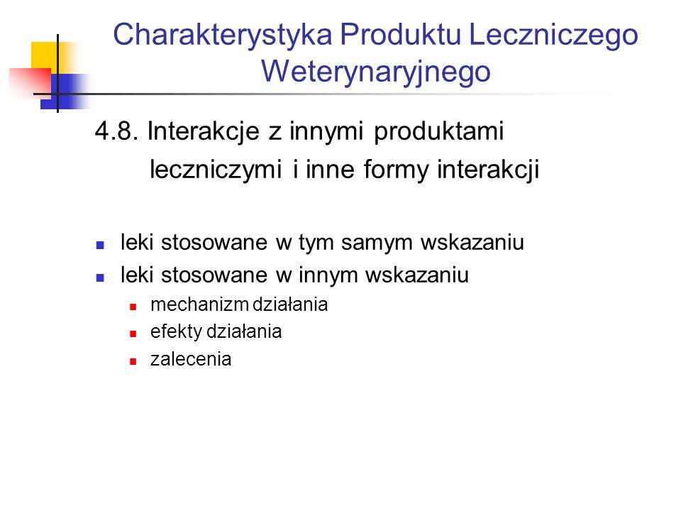 Charakterystyka Produktu Leczniczego Weterynaryjnego 4.8.