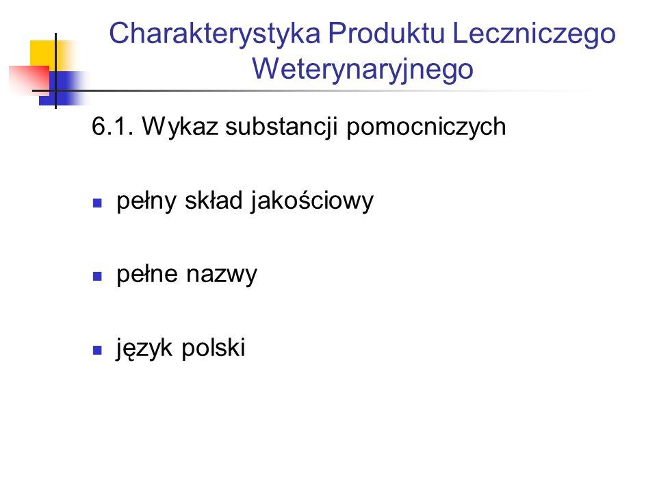 Charakterystyka Produktu Leczniczego Weterynaryjnego 6.1.